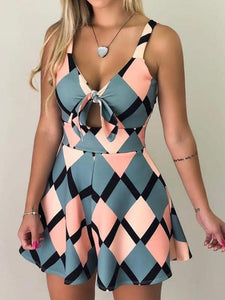 Sexy V Neck Sleeveless Hollowing Out Geometric Print Knotted Spaghetti Strap Romper