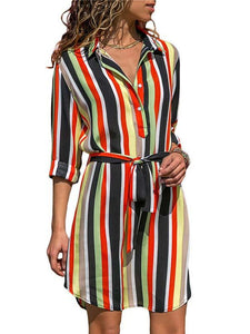 Lapel Long Sleeve Striped Print Belt Casual A Line Dress