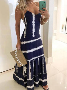 Sexy Spaghetti Straps Backless Tie Dye Ruffles Casual Maxi Dress
