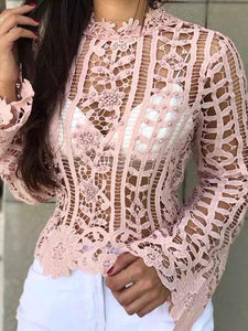 Beaded Hollow Out Lace Casual Blouse - Hellosasa