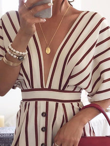 Sexy Deep V Neck Stripe Simple Button Mini Dress