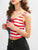 Patriotic American Flag Lace Up Tank Top