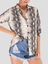Suit Neck Loose Pattern Snake Long Sleeve Blouse