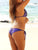 Purple & Gold Sequined Sexy Halter Lace UP Bikini