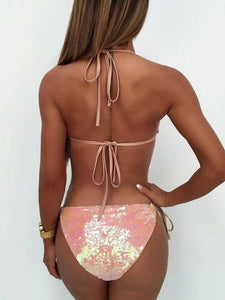 Sexy Backless Sequined Ring Buckle Strap Bikini