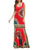 Bohemia Print U Neck Draped Bodycon Maxi Dress - Hellosasa