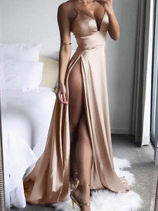 Solid Color Sexy Off Shoulder Spaghetti Strap High-Split A Line Dress
