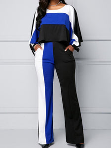 Cape Shoulder Pocket Color Block Jumpsuit