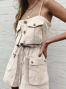 Casual Sleeveless Spaghetti Shoulder Strap Solid Color Street Romper