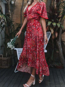V Neck Bat sleeve Floral Print Maxi Dress