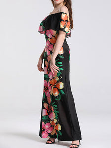 Off Shoulder Overlay Chest Cold Sleeve Low Back Floral Print Casual Maxi Dress