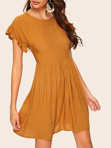 Contrast Ruffle Cuff Zip Back Babydoll Dress
