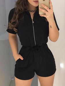 Black Lapel Short Sleeve Zipper Casual Short Sleeve Belt Romper - Hellosasa