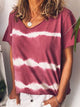 Plus Size V Neck Short Sleeve Strip Print T-shirt