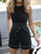 Contrast Sexy Round Neck Sleeveless Binding Pocket Tie Waist Romper
