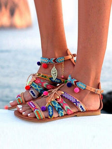 Pom-Pom Lollipop Colorful Flat Sandal