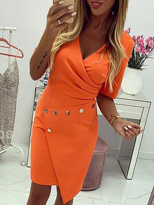 Deep V Neck Buttoned Ruched Surplice Wrap Bodycon Dress