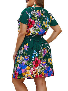 Plus Surplice Front Floral Print Shirred Dress