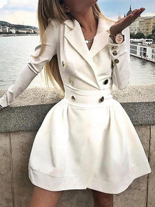 Turndown Collar Solid Button Long Sleeve Mini Dress