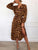 Sexy V Neck Long Sleeve Leopard Casual A-line Dress