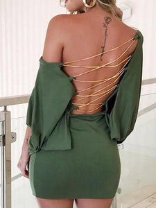 Metal Chain Lace-Up Backless Bodycon Dress