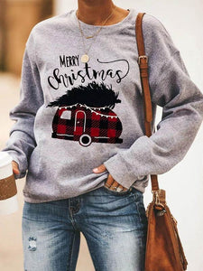 Merry Christmas Letter Print Round Neck Long Sleeve Sweatshirt