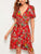 Floral Print Ruffle Tie Front Wrap Dress