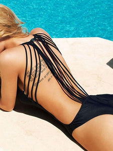 Sexy Black Backless One Piece String Swimwear