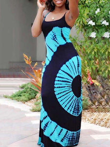 Plus Size Off Shoulder Spaghetti Strap Backless Geometric Print Casual Maxi Dress