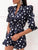 V Neck 3/4 Sleeve Polka Dot Knotted Casual  Romper