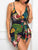 Sexy Deep V-Neck Off Shoulder Spaghetti Strap Tropical Print Wrap Romper