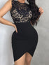 Lace Bodice Insert Irregular Bodycon Dress