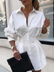 Plus Size Long Sleeve Turndown colla Detail Shirt Dress