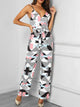 Spaghetti Strap Geo Print Backless Jumpsuit