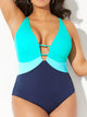 Colorlock V-Neck One Piece Swimsuit
