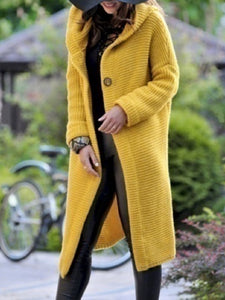 Plus Size Long Sleeve Solid Casual Knitted Hooded Coat