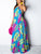 Bohemia Sexy Halter Sleeveless Leaf & Floral Print Casual Backless Maxi Dress - Hellosasa