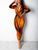 Orange Elegant Deep V Neck Long Sleeve Tie Dye Bodycon Maxi Dress