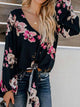V Neck Long Sleeve Floral Knotted Loose Blouse