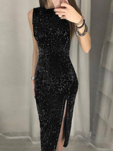Sleeveless Thigh Slit Sequin Party Dress