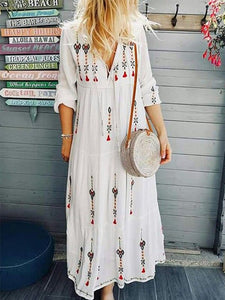 V Neck  Short Sleeve Embroidered Linen Dress