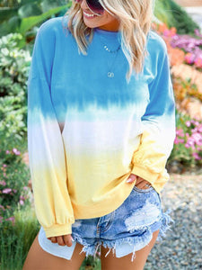 Plus Size Round Neck Long Sleeve Fashion Gradient  Casual T-shirt