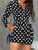 V Neck Long Sleeve Polka Dot Button Casual Romper