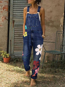 Sleeveless Denim Floral Print  Overalls Casual Jumpsuits
