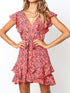 V Neck Cap Sleeve Floral Print Ruffles Casual Belt Mini Dress