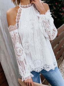 Solid Color Off Shoulder Cold Sleeve Lace Elegant Blouse