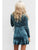 Solid Color Deep V Neck Long Sleeve Ruffles Belt Casual Mini Dress
