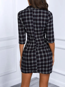 Plaid V Neck Double Breasted Tweed Blazer Dress