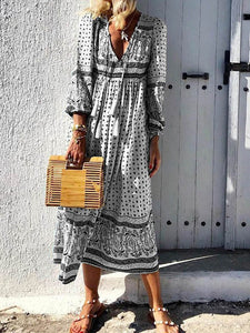 Plus Size V Neck Polka Dot Printed Long Sleeve Maxi Dress