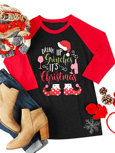 Round Neck Christmas Letter Printed Long Sleeve Casual T-Shirt